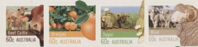 Aus SG3751-4 Farming Australia self-adhesive set of 4 singles from booklets (exSB407-8), perf 11